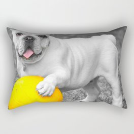 English bulldog white and the yellow ball Rectangular Pillow