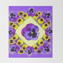 PURPLE GEOMETRIC  PURPLE & YELLOW  PANSIES  WITH CREAM COLOR Throw Blanket