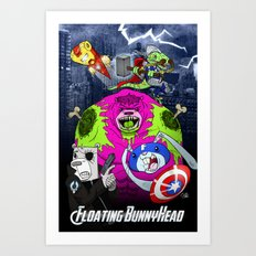 Floating BunnyHead + Avengers Art Print