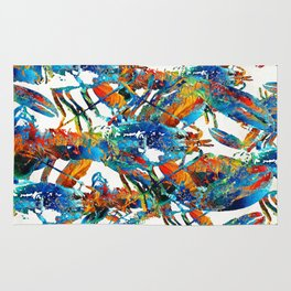 Colorful Lobster Collage Art - Sharon Cummings Rug