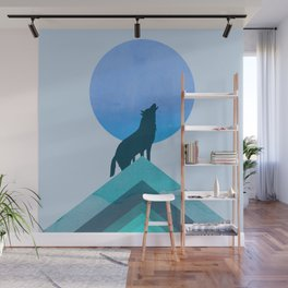 Abstraction_BLUE MOON_WOLF_FOREST_Minimalism_001 Wall Mural