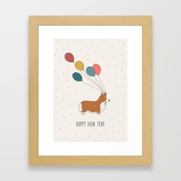 HAPPY NEW YEAR CORGI Framed Art Print