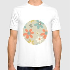 flowers pattern Mens Fitted Tee SMALL White