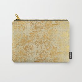 golden vintage damask floral pattern Carry-All Pouch