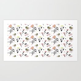 Cute pattern with bees, flowers and berries Art Print
