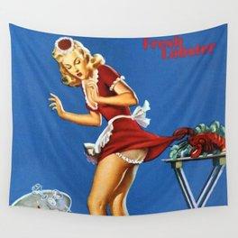Fresh Lobster! - Satirical Pin Up Girl Waitress Motif Wall Tapestry