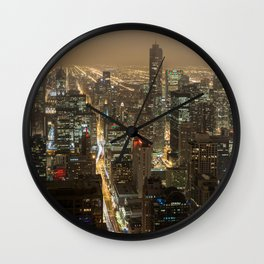 Chicago Skyline Nightshot Wall Clock