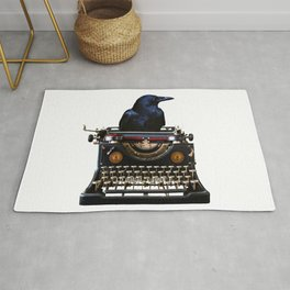Journalist - Author - Typewriter Black Raven Rug