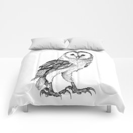 Barn Owl - Drawing In Black Pen Comforters