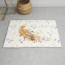Golden feather with music notes Rug
