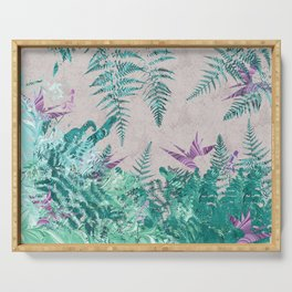 Ferns and Parrot Flowers Serving Tray