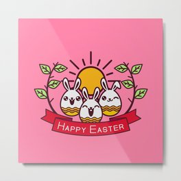 Happy Easter Happy Bunnies Metal Print