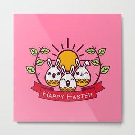 Happy Easter Happy Bunnies Metal Print