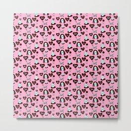 aspri petra white stone heart kalimera pink Metal Print