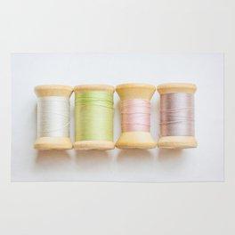 Pastel Spools of Vintage Thread Rug