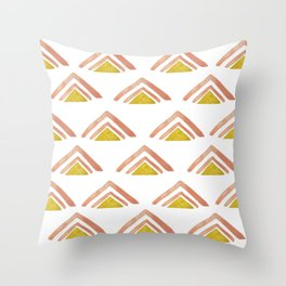 Pink and Yellow Boho Triangles Throw Pillow