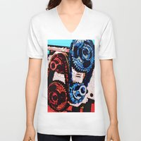 gears of war V-neck T-shirts featuring Dual Gears by Chris Crewe