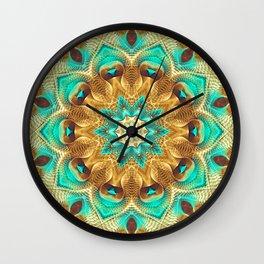 Flower Of Life Mandala (Teal Garden) Wall Clock