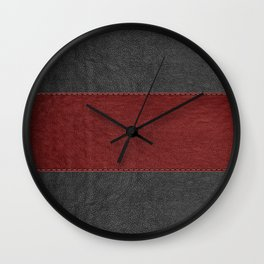 Black & Red Leather Texture Print Wall Clock