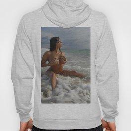 0093-SS Beautiful Naked Woman Nude Beach Sand Surf Big Breasts Long Black Hair Sexy Erotic Art Hoody