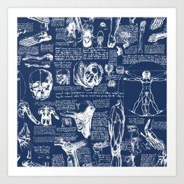 Da Vinci's Anatomy Sketchbook // Regal Blue Art Print