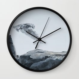 Snowy Owl Of Bronte Harbour by Teresa Thompson Wall Clock