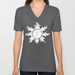 Sun and Moon kissing each other vintage Unisex V-Neck