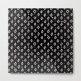 Contemporary Black & White Geometrical Shapes Pattern Metal Print