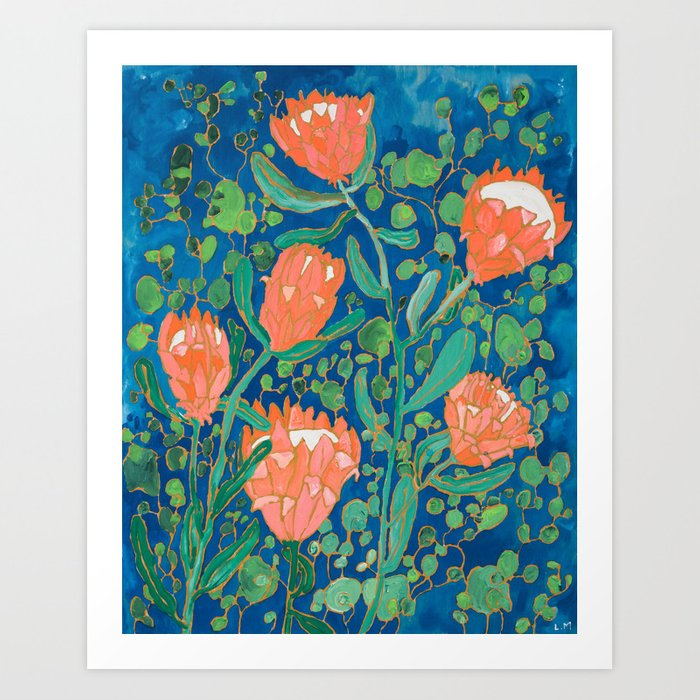 Coral Proteas on Blue Pattern Painting Kunstdrucke