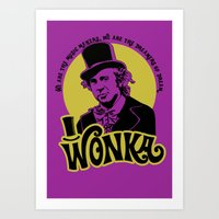 willy wonka Art Prints featuring Willy W quote by Buby87