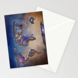 Stars world map. Blue. World map Stationery Cards