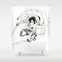 levi Shower Curtains featuring Levi Ackerman: Humanities Strongest by Reira Hoshikuzu