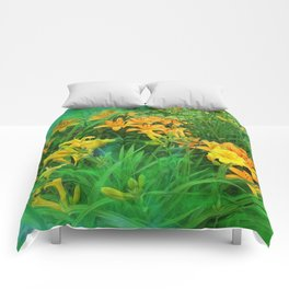 Day-glo Lilies Comforters