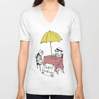 tarot V-neck T-shirts featuring Tarot Reader by hannah koslosky
