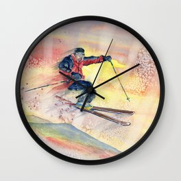 Colorful Skiing Art Wall Clock