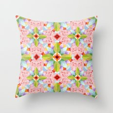 Pink Paisley Flowers Throw Pillow
