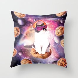 Rave Kitty Cat On Choc Cookie In Space Throw Pillow