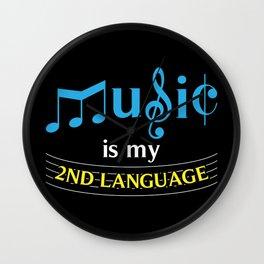 Music Is My 2nd Language Wall Clock