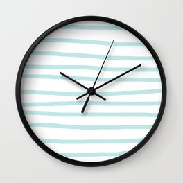 Simply Drawn Stripes Succulent Blue on White Wall Clock
