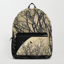 Tree with Crow Against Full Moon A181 Backpack