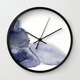 """""""The queen has arrived"""" Expressive Cat Watercolor Painting Wall Clock"""