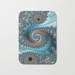 Feathery Flow - Teal and Taupe Fractal Art Bath Mat