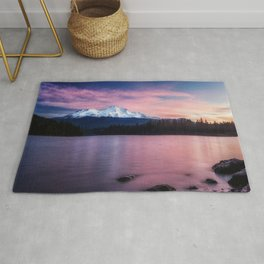 Sublime a sunrise at Lake Siskiyou with Mt. Shasta Rug