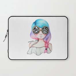 Summer Vibes Colourful Hair Girl Drawing Laptop Sleeve