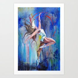 Vintage Ballet Dancer on Watercolor Art Print
