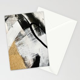 Armor [9]: a minimal abstract piece in black white and gold by Alyssa Hamilton Art Stationery Cards