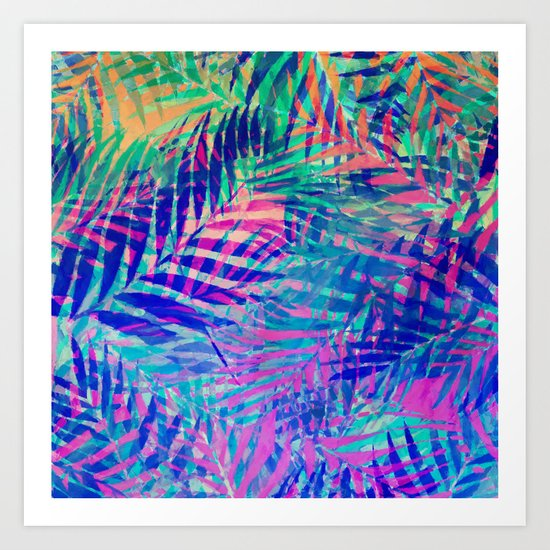 Colorful abstract palm leaves 2 Art Print