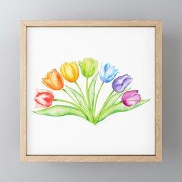 Rainbow Tulips, Spring Flowers Framed Mini Art Print