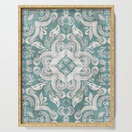 Teal and grey dirty denim textured boho pattern Serving Tray