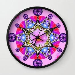 AMETHYST & PINK ROSES BIRTHSTONE MANDALA Wall Clock